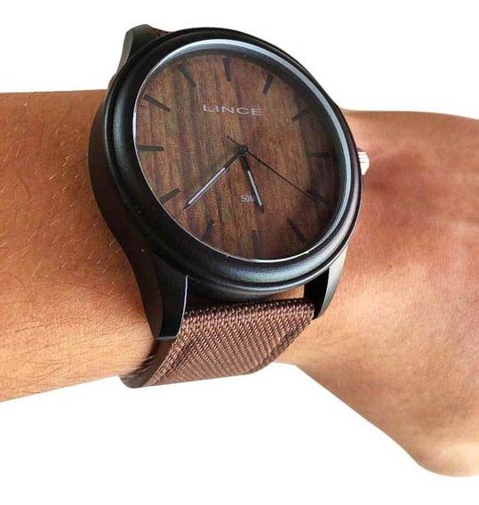 Relógio Masculino Lince A Preto E Marrom Amadeirado Original