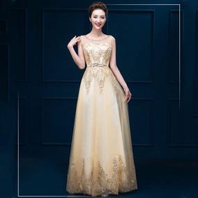 132511e1e Vestidos Elegantes Largos Dorados - Vestidos De Fiesta Largos para ...