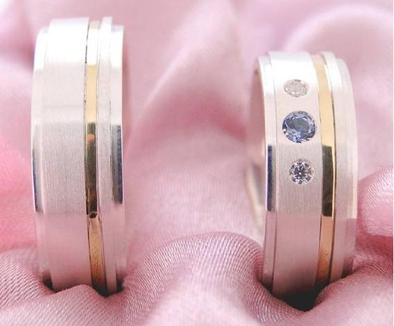 Par Alianças Prata 950 E Ouro 18k 7mm Pedra Azul