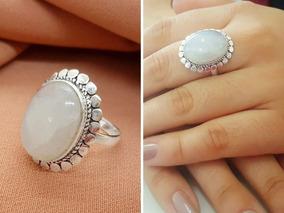 Anel De Bali Prata Pura 925 Com Pedra Da Lua - 3513