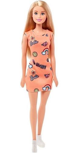 Imagen 1 de 4 de Barbie Básica Cabello Rubio - Vestido Naranja - Nueva
