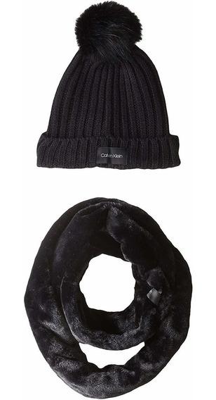 Set De Bufanda Y Gorro Calvin Klein Conjunto 2 Piezas Negro