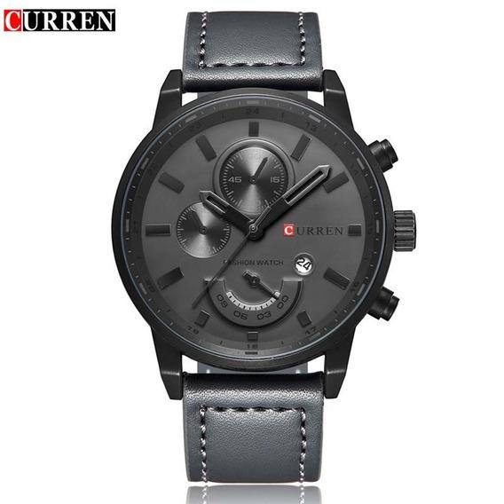 Relógio Masculino Curren Social Luxo Couro Preto