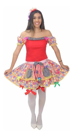 Conjunto Vestido Roupa Saia De Festa Caipira Junina Junino