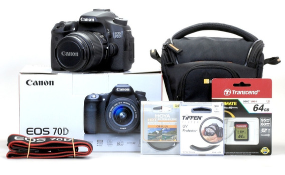 Canon 70d + Objetiva Zoom 18-55mm + Brindes !!