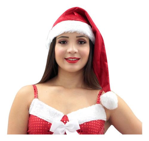 Gorro Para Papai Noel Em Veludo Touca - Temos Fantasia Natal