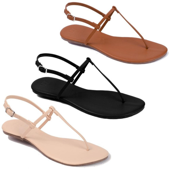 Kit 3 Pares Sandalia Flat Rasteira Feminina Mercedita Shoes