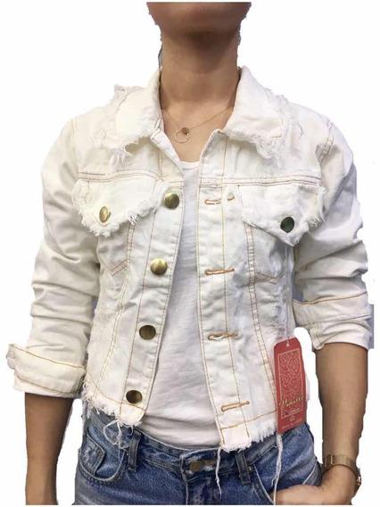 Jaqueta Jeans Feminina Rascada Curta Moda Bege