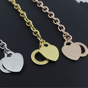 Pulseira Aço Love Coração Folheado Ouro 18 Rosé Dourado C597