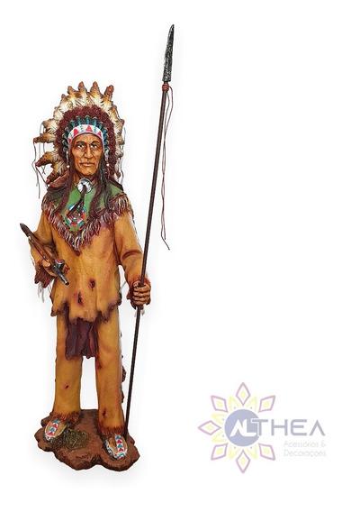 Estátua Índio Cacique Xamã Com Lança + Escultura Xamã