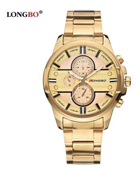 Relógio Masculino Longbo De Aço Luxo Promocao Frete Gratis
