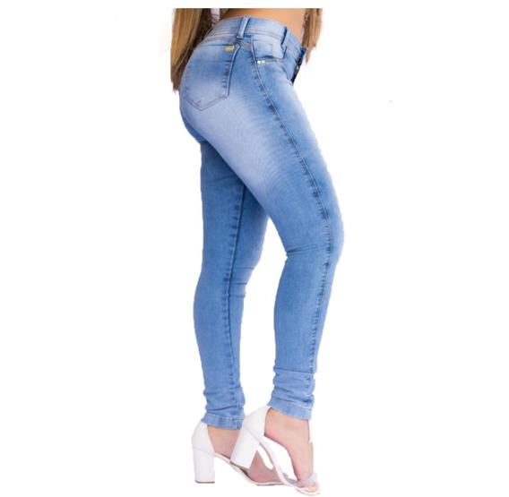 Kit 4 Calças Jeans Feminina Cintura Alta Cós Alto Com Lycra