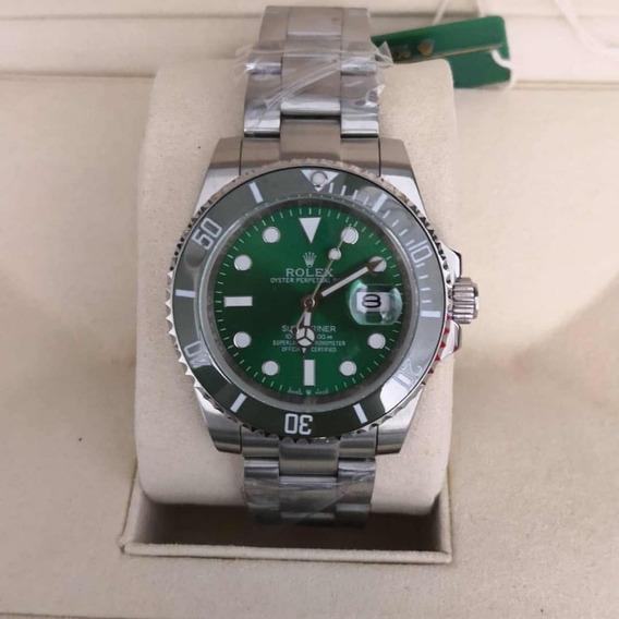 Relógio Rolex Verde Hulk Submariner Prata Automático