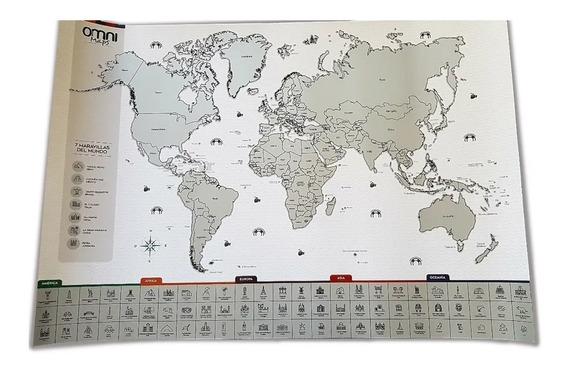 Mapa Raspadita Scratch Para Raspar Mundo Planisferio Viajero