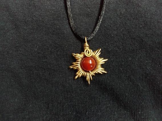 Dije Collar Cuarzo Cornalina Artesanal Sol Vintage Reiki