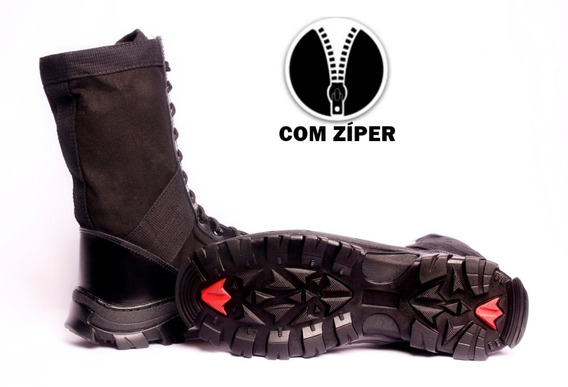 Coturno Troller Preto Operacional Exército - Com Ziper