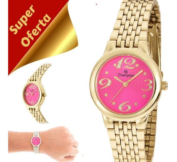 Relógio Feminino Champion Dourado Pequeno Original Ch24919l