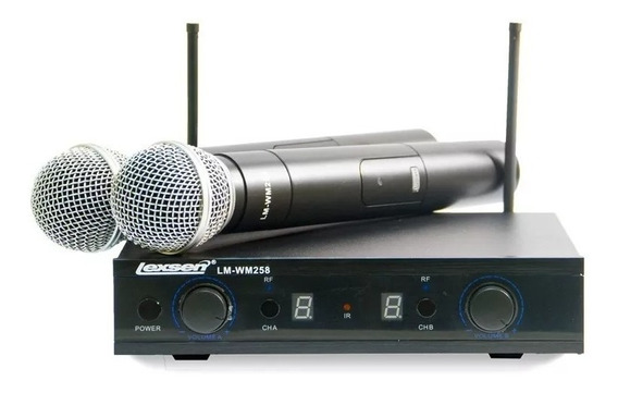 Microfone Sem Fio Duplo Multifrequência Uhf Lexsen Lm-wm258