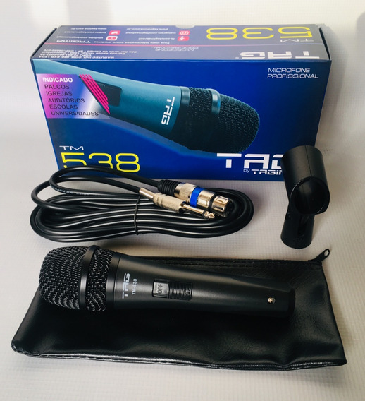 Microfone Tagima Tm538 Dinamico E Cardioide Com Cabo P10 Xlr