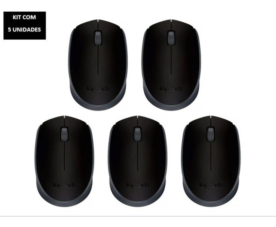 Kit Com 5 Un Mouse Logitech M170 Sem Fio Preto