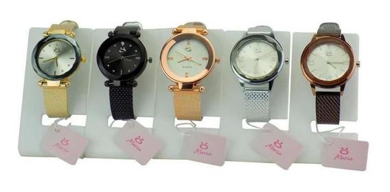 Kit 5 Relógio Feminino Original Dourado Compre 5 Leve 6