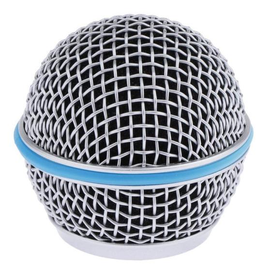 Substituição Azul Aço Malha Microfone Grill Cabeça Acess