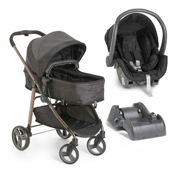 Carrinho Galzerano Olympus Preto + Bebê Conforto + Base