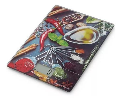 Imagen 1 de 4 de Balanza Cocina Digital Silfab Bc302 Spice 3k Smart Tech Slim