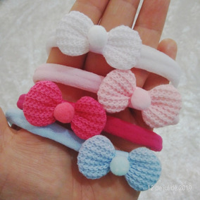 Laço Rn Croche 10 Unidades Mini Pompom Meia De Seda Slim