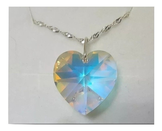 Colar Coração Cristal Swarovski Boreal 1,4cm Em Prata 925