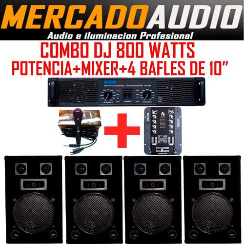 Imagen 1 de 6 de Combo Mini Dj  Potencia+mixer+4 Bafles 10 PuLG  + Micrófono