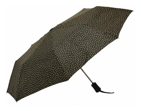 Paraguas Corto Automático Antiviento Negro Estrellas