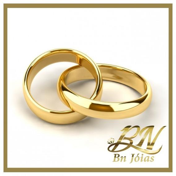 Aliança Ouro 18k Folheadas Casamento Frete Gratis _ Bn Jóias