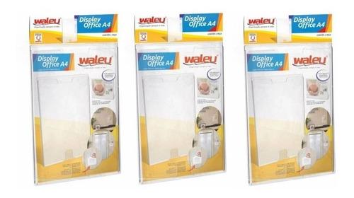 Quadro De Aviso A4 Acrílico Display Office Waleu Kit C/3