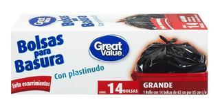 Bolsas Para Basura Great Value Grande Con Plastinudo 14 Pzas