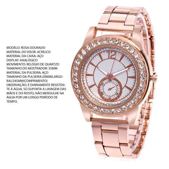 Relógio Barato Feminino, Rosa Dourado, Novo