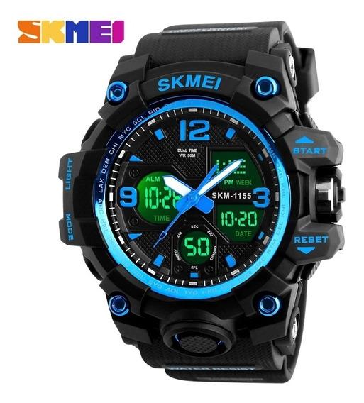 Relógio Masculino Skmei 1155 Black Blue Com Frete Grátis