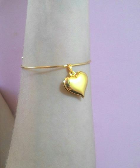 Bracelete Com Pingente De Coração. Banhado A Ouro.