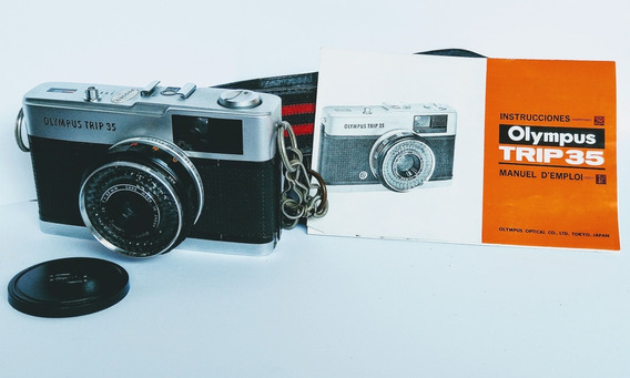 Máquina Fotográfica Olympus Trip 35 Com Manual, Alça, Estojo