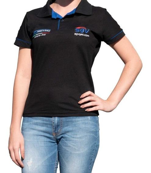 Camiseta Polo Uniforme Feminina Preta Sgv Tomasetto Gnv