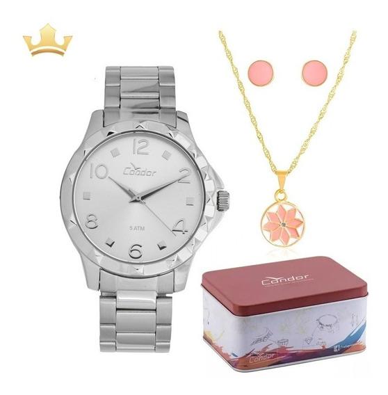 Relógio Condor Feminino Kit Co2035ksm/k3b Com Nf