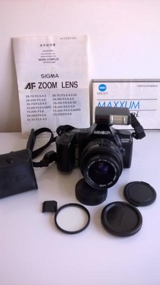 Câmera Minolta Maxxum 3000i Com Lente Zoom Sigma 35-70mm