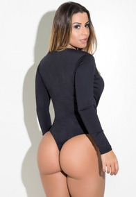 Body Feminino Fitness Um Ombro Só Com Decote No Busto!