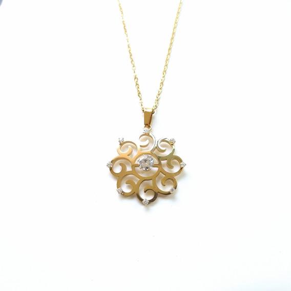 Collar Flor 8 Cristales | Acero Inoxidable