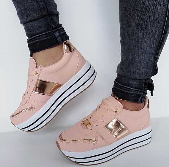 Zapatos Tenis De Plataforma Color Rosa De Dama Moda Y Estilo