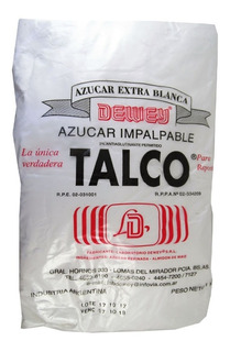 Azucar Impalpable Talco Dewey X 1 Kg Cotillon Sergio Once