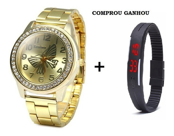Relógio Feminino Dourado Barato + Relógio Led De Brinde