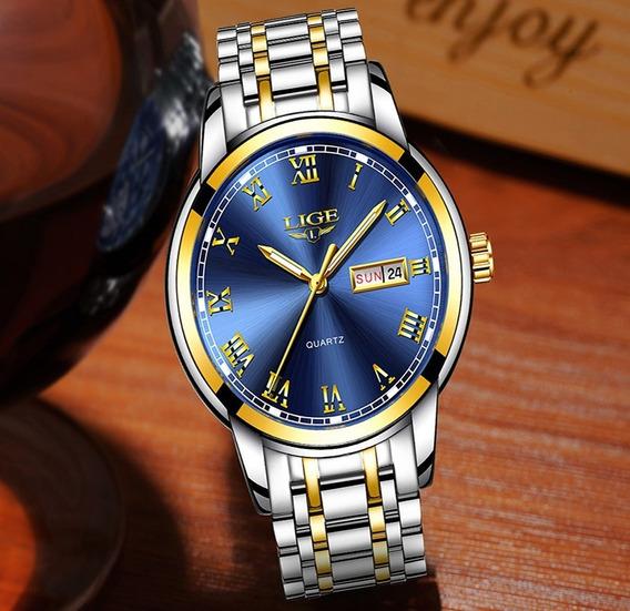 Relógio Masculino Luxo Lige 9846 Dourado Azul Cromado
