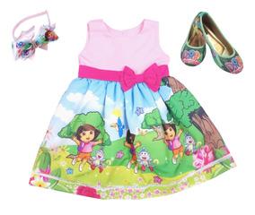 Sapatilha + Tiara + Vestido Infantil Dora Tam. 8 A 12 Anos