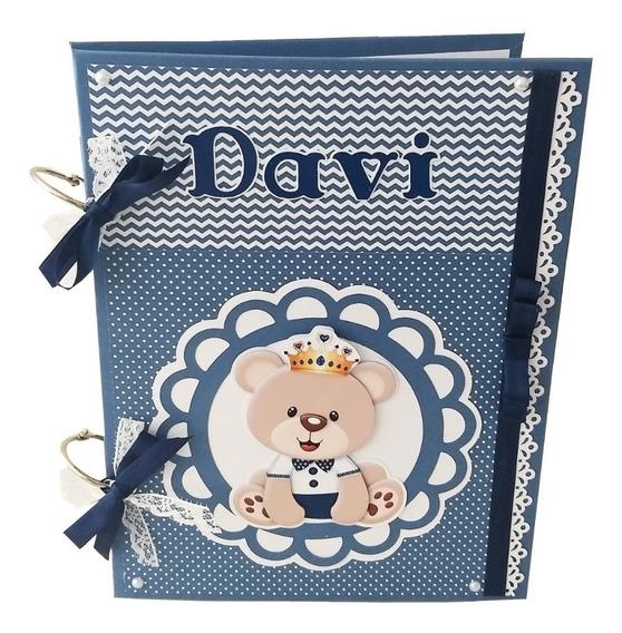 Álbum Livro Diário Bebê Personalizado Urso Príncipe Marinho